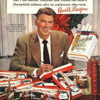 Leader of the pack: A 1949 Chesterfield cigarette ad features future U.S. President Ronald Reagan. | AP