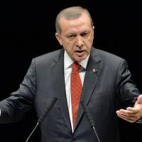 Damage control: Turkish Prime Minister Recep Tayyip Erdogan delivers a speech at a lecture on the strategic partnership between Turkey and Japan in Tokyo on Tuesday. | AFP-JIJI