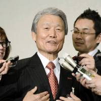 Taking the stage: Incoming Keidanren chief Sadayuki Sakakibara speaks to reporters Tuesday. | KYODO
