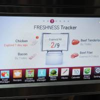 Meat meter: The Smart Home system is seen on a refrigerator at the 2014 International CES show in Las Vegas on Friday. It allows users to 'talk' with appliances via text messages. | AFP-JIJI