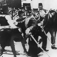 Triggerman: Police arrest Serbian nationalist Gavrilo Princip immediately after he assassinated Archduke Franz Ferdinand, the heir to the Austria-Hungary Empire, in Sarajevo on June 28, 1914. The event acted as a trigger for World War I. | AFP-JIJI
