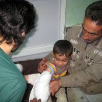 Walking wounded: Sarmad Abdul Wahid, 3, receives treatment at a hospital in Fallujah, Iraq, after being injured in a bombing on Saturday. Iraqi authorities say clashes between militants and government troops as well as two bombings at marketplaces have killed at least 30 people. | AP