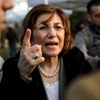 Small step: Syrian senior presidential adviser Bouthaina Shaaban responds to journalists' questions during peace talks at the United Nations in Geneva aimed at resolving her country's civil war Tuesday. | AFP-JIJI