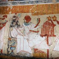 Dead drunk: Colored inscriptions are seen Friday on a newly discovered tomb in Luxor, Egypt. The country's minister of antiquities said Japanese archaeologists have unearthed the final resting place of an ancient beer brewer in the city that is more than 3,000 years old. | AP