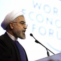 'Moderation, prudence and hope': Iranian President Hassan Rouhani speaks at the World Economic Forum in Davos, Switzerland, on Thursday. | BLOOMBERG