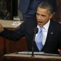 Scoring points?: President Barack Obama delivers his State of the Union address on Capitol Hill in Washington on Tuesday. | AP
