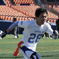 Playing chairman: Hideji Horiko, chairman of the Huddle Bowl organizing committee, played wide receiver for Kwansei Gakuin University. | HIROSHI IKEZAWA