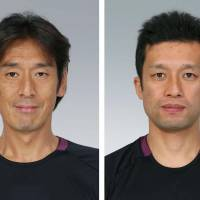 Honored: (From left) referee Yuichi Nishimura and assistant referees Toru Sagara and Toshiyuki Nagi were chosen to work in the FIFA World Cup in Brazil. | KYODO
