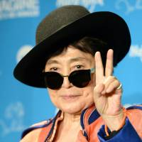 Jumping in: Yoko Ono, the widow of late Beatles singer John Lennon, on Monday urged fishermen in Taiji, Wakayama Prefecture, to stop their annual dolphin hunt, backing a similar request from U.S. Ambassador to Japan Caroline Kennedy. | AFP-JIJI