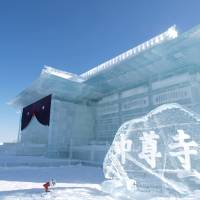 Cool site: A previous Drift Ice Festival ice sculpture of Chusonji Temple, which is part of the World Heritage Site Hiraizumi in Iwate Prefecture.