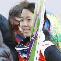Sara Takanashi speaks to the media following her first official training session at the RusSki Gorki Jumping Centre on Saturday. | KYODO