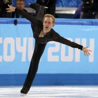 Legendary Yevgeni Plushenko turns in a winning performance in the men's sigure skating team free program at the Iceberg Skating Palace. | AFP-JIJI