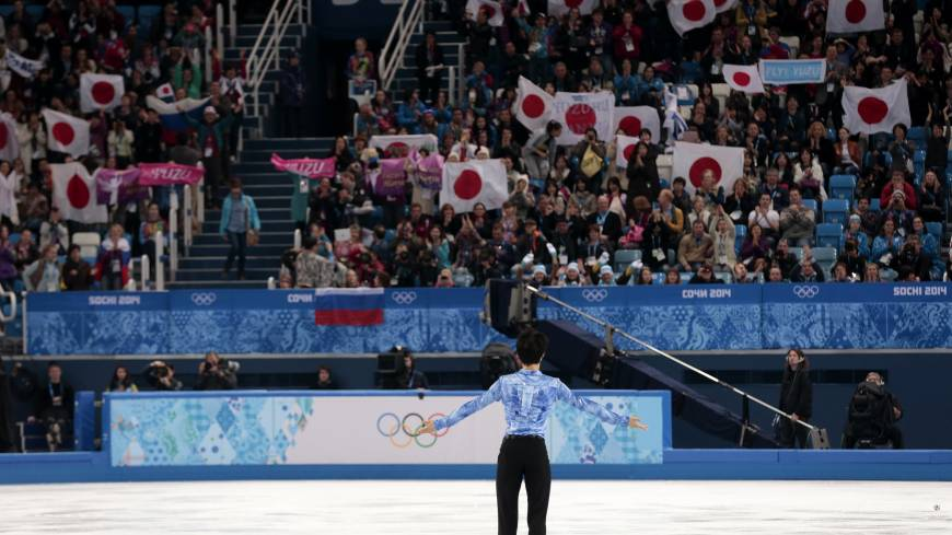 Yuzuru Hanyu of Japan acknowledges the crowd after performing his short program on Thursday.