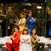 Casts of five rotate from among 17 of the company's actors. This one is, clockwise, Yuka Hyodo (Doll) in white: Wataru Okamura (mime), Hide (break dance), Keishi Atarashi (magic) and Shingo Sakata (juggling). | YOSHIKAZU INOUE PHOTOS