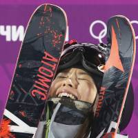 Japan's Ayana Onozuka reacts after her second run in the women's ski halfpipe final on Thursday at the Sochi Olympics. Onozuka captured the bronze medal in the event.  | AP