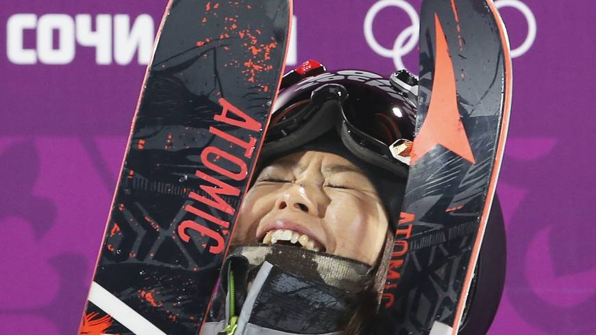Japan's Ayana Onozuka reacts after her second run in the women's ski halfpipe final on Thursday at the Sochi Olympics. Onozuka captured the bronze medal in the event.