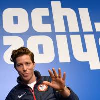 Old hand: U.S. snowboarder Shaun White takes part in a news conference in Sochi, Russia, on Wednesday. | AFP-JIJI