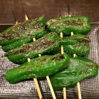 Keeping it green: Grilled peppers are one of many options for meatless eats at a yakitori restaurant. | ANANDA JACOBS