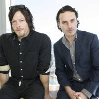 Dead on arrival: Norman Reedus (left) and Andrew Lincoln, stars of post-apocalyptic zombie drama 'The Walking Dead,' during a promotional visit to Tokyo. | VIOLA KAM