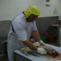 The only American in the room: Miami native David Leibowitz cuts top-grade tuna in  Tokyo's legendary  Tsukiji fish market in 1994. | RETSU SATO