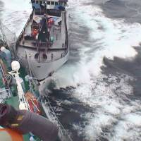 Dangerous waters: Japanese whaling vessel Yushin Maru No. 3 (left) and Sea Shepherd's the Bob Barker collide in the remote, icy seas off Antarctica in this photo provided by the Institute of Cetacean Research dated Sunday. | THE INSTITUTE OF CETACEAN RESEARCH/AP