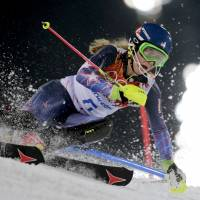 Never too young: Mikaela Shiffrin skis down the course during the Olympic slalom on Friday. The 18-year-old Shiffrin became the youngest Olympic slalom champion in history. | AP