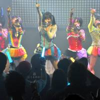 Full steam ahead: The all-female pop idol group Steam Girls dances at the Pasela Resorts Akiba entertainment complex in Tokyo's Akihabara district on Jan. 18. | YOSHIAKI MIURA