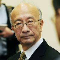 Diplomatic thaw?: Japan's ambassador to South Korea, Koro Bessho, is seen in a meeting with a South Korean official in Seoul last April. | KYODO