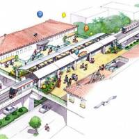 A sketch shows a train station for a railway system the Okinawa Prefectural Government plans to build with funding from the central government. | KYODO