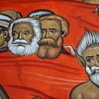 Red devils: This detail from a fresco of sinners in hell at the new Church of Christ's Resurrection in Podgorica shows a demon below German communist philosophers Karl Marx (center) and Friedrich Engels (right) and Yugoslav communist leader Josip Broz Tito. | AFP-JIJI