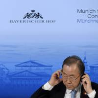 Banning hate: U.N. Secretary-General Ban Ki-moon attends the Munich Security Conference on Saturday. Ban on Thursday condemned anti-gay violence and discrimination. | AFP-JIJI
