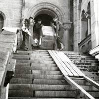 Cultural mission: Artwork is removed from Neuschwanstein Castle in Bavaria, Germany, in 1945. Records from the corps known as the 'Monuments Men,' who recovered looted art during the war, are going on display in Washington.   AP