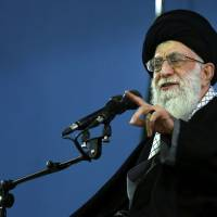 Iranian Supreme Leader Ayatollah Ali Khamenei delivers a speech in Tehran on Monday. | AP