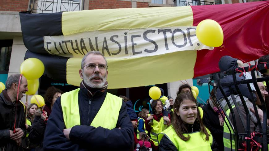 Ethical consideration: Protesters stand in front of a banner that reads 'Euthanasia Stop' during a demonstration in Brussels on Feb. 2.