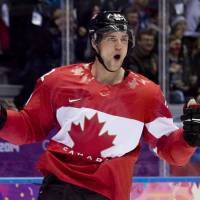 One more to go: Canada's Jamie Benn celebrates his goal against the U.S. on Friday in Sochi Russia. The Canadians beat the Americans 1-0 in the semifinals of the Olympic hockey tournament. | AP
