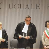 Guilty: Appeals Court Judge Alessandro Nencini (center) reads out the verdict for the murder of British student Meredith Kercher on Jan. 30 in Florence, Italy.   AP