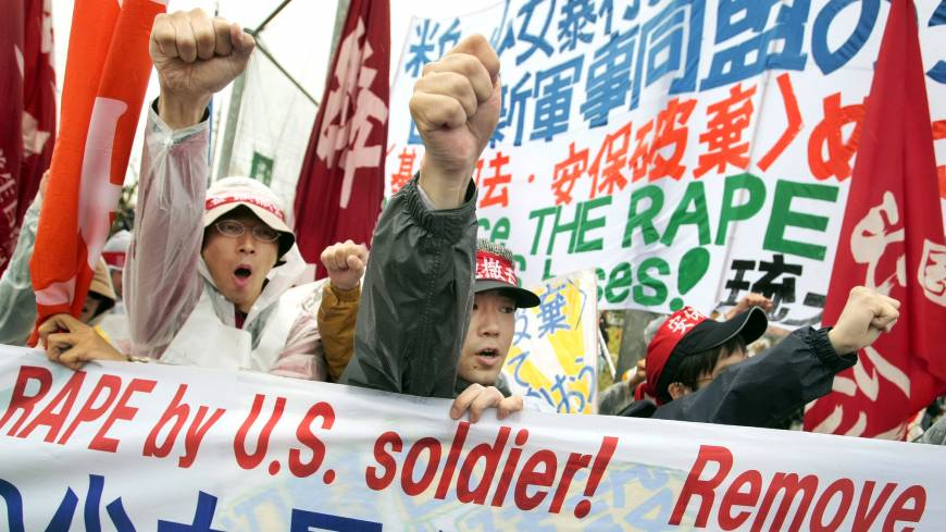 Stoking anger: Protesters shout slogans during a rally against an alleged rape in February of a 14-year-old girl by an American serviceman in Okinawa Prefecture in March 2008. An Associated Press investigation into the military's handling of sexual assaults in Japan has found a pattern of random and inconsistent judgments in which most offenders are not incarcerated. Instead, commanders have ordered 'nonjudicial punishments' that ranged from docked pay to a letter of reprimand.