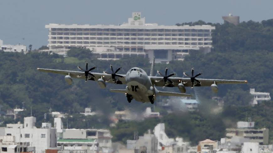 Airing grievances: A C-130 transport plane takes off from the U.S. Marine Corps Air Station Futenma in Ginowan, Okinawa Prefecture, on August 2012. An Associated Press investigation into the military's handling of sexual assaults in Japan has found a pattern of random and inconsistent judgments in which most offenders are not incarcerated. Instead, commanders have ordered 'nonjudicial punishments' that ranged from docked pay to a letter of reprimand.