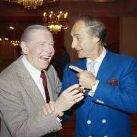Kings of comedy: Comedians Sid Caesar (right) and Milton Berle pose in Beverly Hills, California, in April 1986. Caesar, whose sketches lit up 1950s television with zany humor, died Wednesday. He was 91. | AP