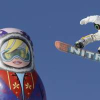 Big air: Sweden's Sven Thorgren competes in the men's snowboard slopestyle qualifying on Thursday. | AFP-JIJI