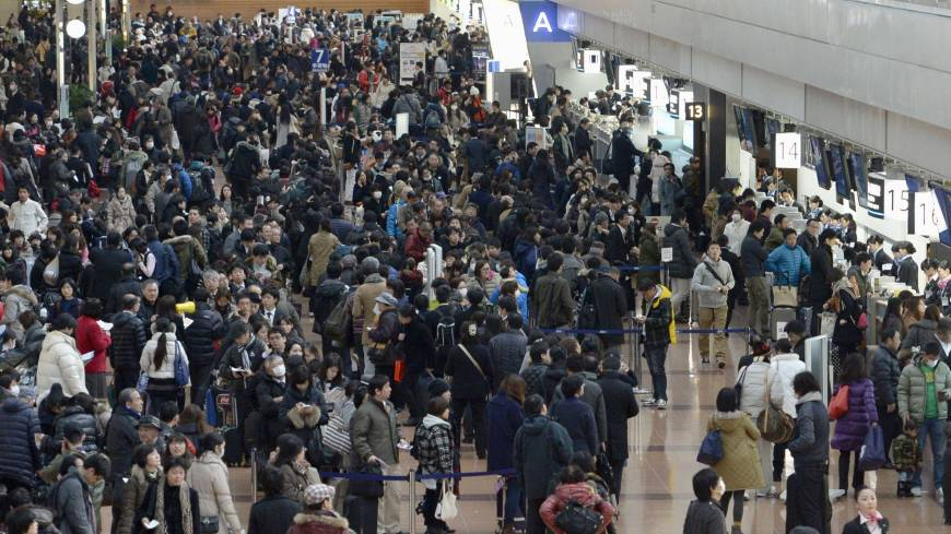 Grounded: Passengers line up for reimbursement or rescheduling at Tokyo's Haneda airport after snow in the capital forced many flights to be canceled.