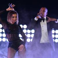 Study in grace: Beyonce Knowles and Jay-Z perform on stage for the 56th Grammy Awards in Los Angeles on Jan. 26. | AFP-JIJI