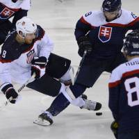 A different era: United States center Joe Pavelski (left) and his teammates face Russia in a highly anticipated Olympic hockey match on Saturday. | AFP-JIJI