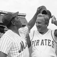 Two legends: In this Aug. 14, 1982 file photo, Willie Mays tries to get Ralph Kiner's hat as the two Hall of Famers pose for pictures before the start of Old-Timers Day game at Shea Stadium in New York. | AP