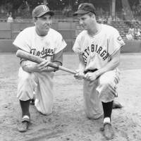 Among the best: Brooklyn Dodgers star Gil Hodges (left) and Pittsburgh Pirates slugger Ralph Kiner, seen in this July 1951 file photo, were among baseball's top power hitters when they played. Kiner, who died on Thursday at age 91, led the National League in home runs in each of his first seven seasons, starting in 1946. | AP