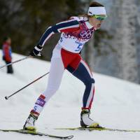 The chase is on: Norway's Maiken Caspersen Falla competes in the women's cross-country individual sprint free qualification at the Laura Cross-Country Ski and Biathlon Center on Tuesday. | AFP-JIJI