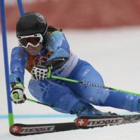 Knowing the elements: Slovenia's Tina Maze makes a turn in the first run of the women's giant slalom on Tuesday in Krasnaya Polyana, Russia. | AP