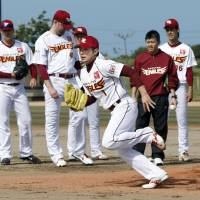 Back in action: Rookie pitcher Yuki Matsui and his Tohoku Rakuten Golden Eagles teammates begin spring training on Saturday in Kumejima, Okinawa Prefecture. | KYODO