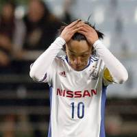 Disappointment: Shunsuke Nakamura and his Yokohama F. Marinos teammates felt the sting of a 3-0 defeat to Jeonbuk Motors on Wednesday. | KYODO