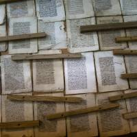 Lines to the past: Old manuscripts are laid out at the al-Aqsa mosque compound library in Jerusalem.   AP